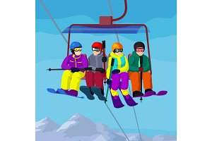 Ski lift with cartoon people in ski resort vector landskape with mountains and people on ski lift