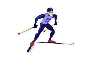 Cross country skiing boy isolated on white, vector skiing sportsman