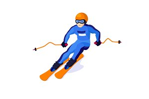Alpine skiing boy isolated on white, vector skiing sportsman