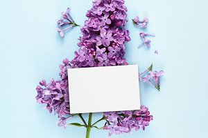 Birthday card and lilac flowers