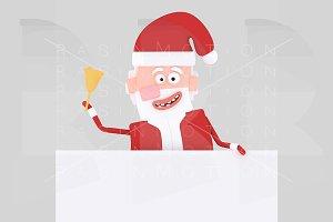 Santa Claus holding white banner