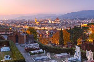 Famous view of Florence at beautiful sunset, Italy
