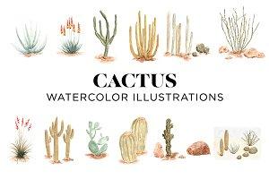 Desert Cactus Watercolors