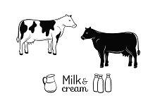 Milk and cream emblems set