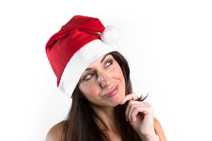 Woman with hat of Santa Claus