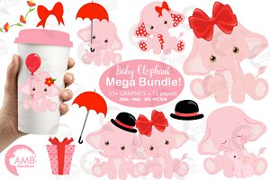 Pink baby elephant Bundle AMB-2276