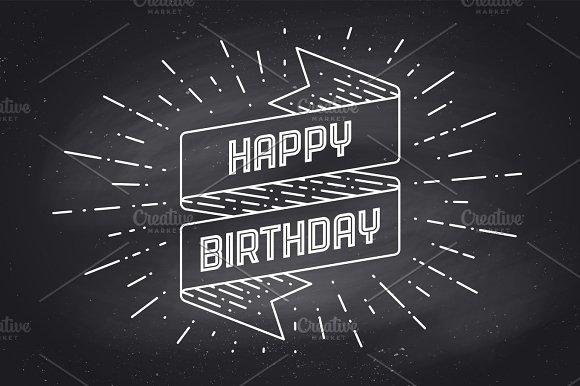 Happy Birthday Fonts ~ Vintage ribbon with text happy birthday ~ illustrations ~ creative