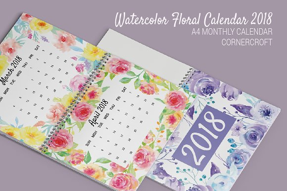 Watercolor Flower Calendar 2018
