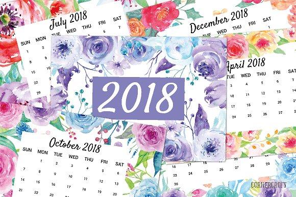 Watercolor Flower Calendar 2018 Stationery Templates Creative Market