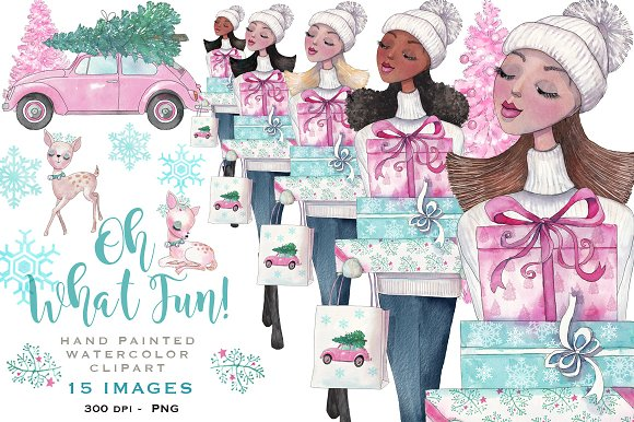 Pink Christmas Watercolor Clipart