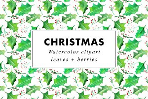 Xmas watercolor clipart + patterns
