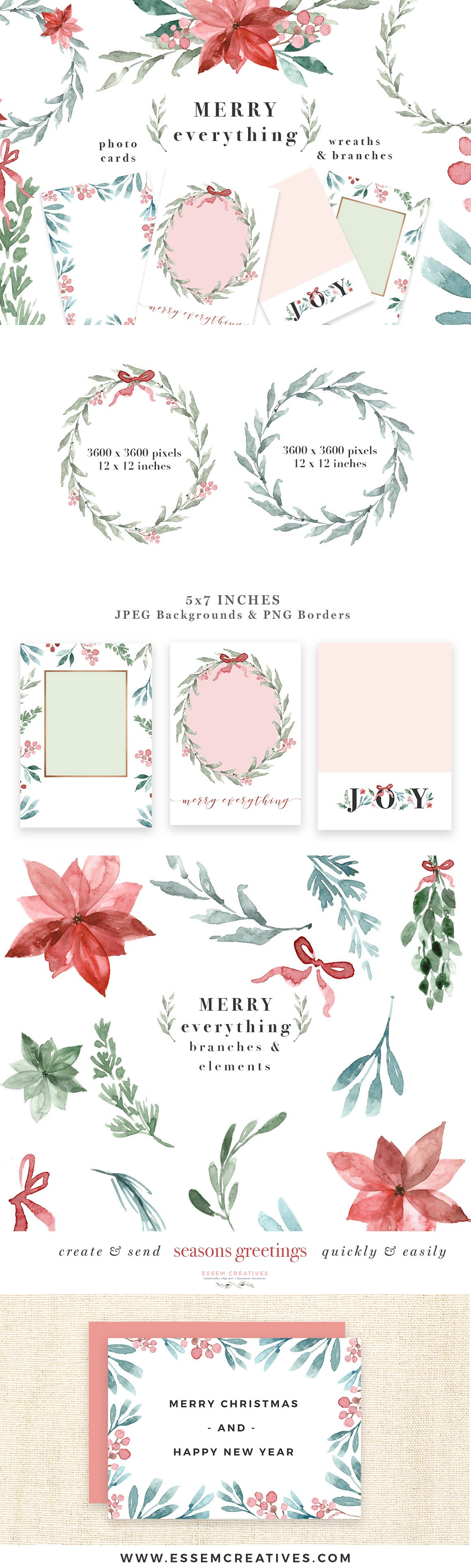 merry christmas wreath card clipart illustrations creative market