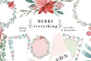 Merry Christmas Wreath Card Clipart