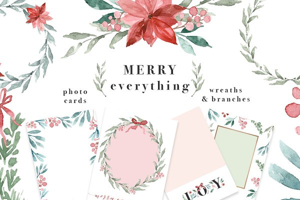 Merry Christmas Wreath Card Clipart