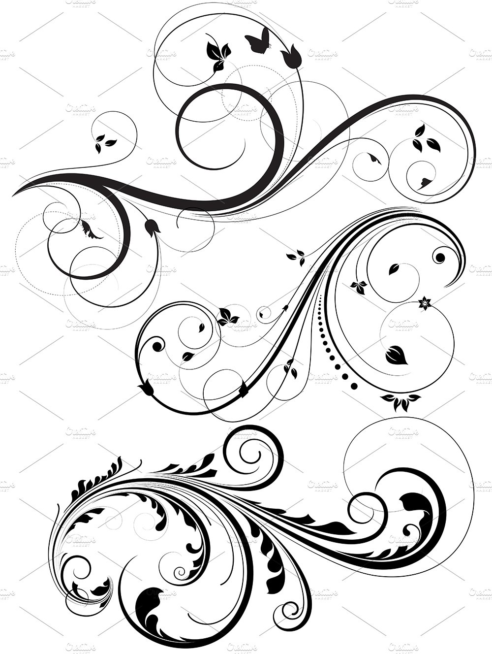 swirls brushes illustrations creative market. Black Bedroom Furniture Sets. Home Design Ideas