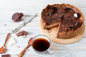 Chocolate cheesecake, cup of coffee