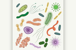 Bacteria, virus, germs icon set