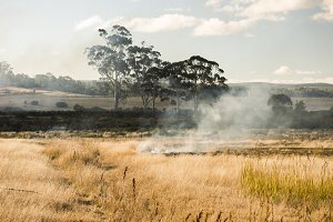 Bush fire in a country town.