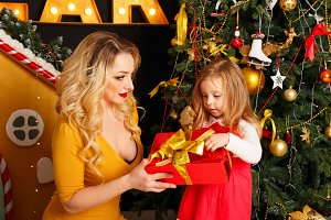 Christmas. Mother and daughter
