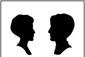 Male and female profile silhouettes