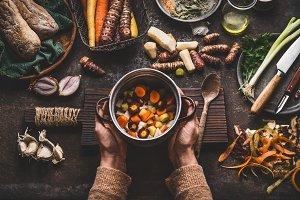 Seasonal colorful vegetables cooking