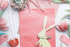 Easter greeting layout, pastel color