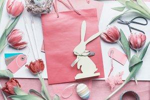 Easter greeting preparation, mock up