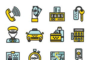 Taxi transportation icon set