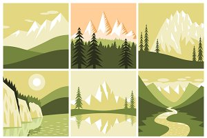 Mountain landscapes icons set