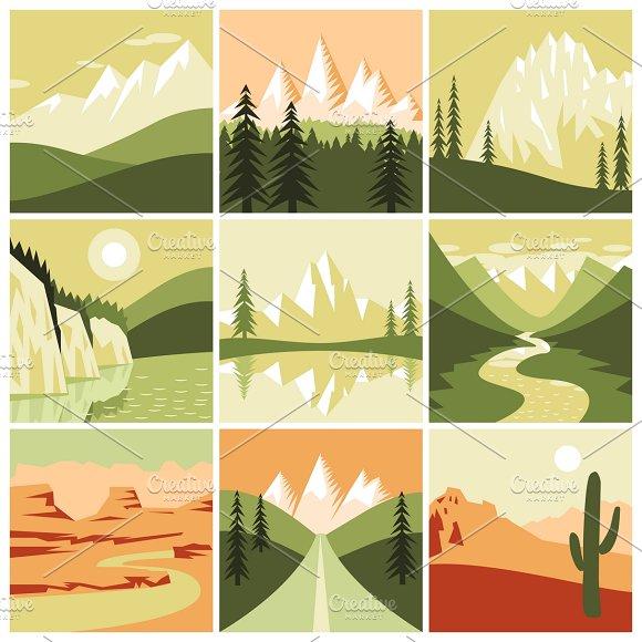 Mountain Landscapes Icons Set