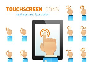 Touch screen flat icons