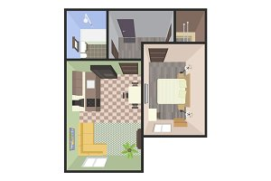 Architectural Color Floor Plan. Bedrooms Apartment