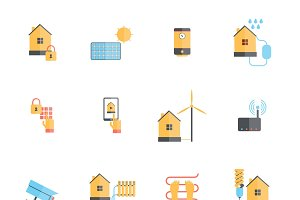 Smart home icon flat set
