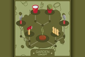 Garden color isometric concept icons