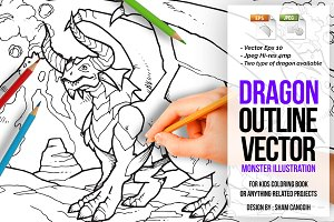 Dragon Outline Vector Illustration