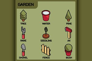 Garden color isometric icons