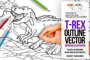 Tyrannosaurus Rex Outline Vector