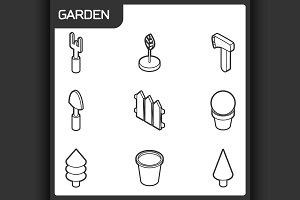 Garden isometric icons