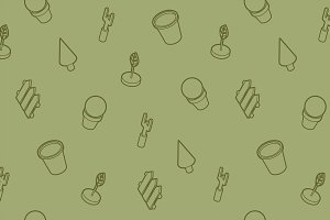Garden outline isometric pattern