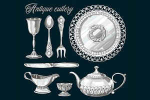 Hand drawn antique silver cutlery