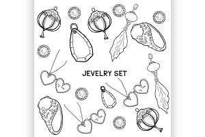 Jewelry Vector set of hand drawing