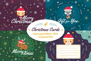 4 Christmas Cards, invitation flyer