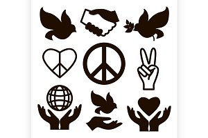 Peace icons set
