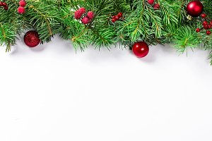 christmas background with fir, red