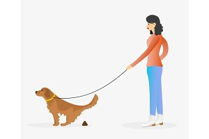 Girl walking a dog. Golden retriever pooping.