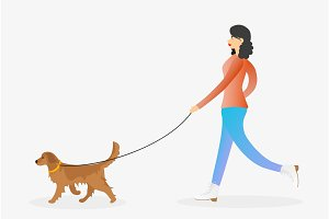 Girl walking the dog on leash.