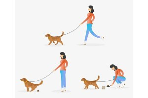 A woman cleaning after dog illustration.