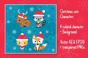 4 Isolated Christmas Characters