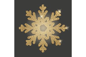 Snowflake with gold glitter texture.
