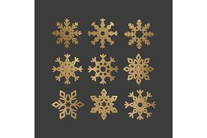 Set of Snowflakes with gold glitter texture.